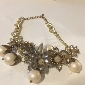 Large Quartz and Pearl necklace